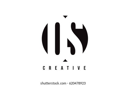 OS O S White Letter Logo Design with Circle Background Vector Illustration Template.