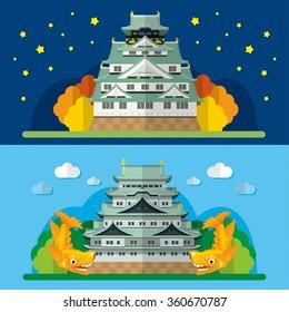 Osaka Castle and Nagoya Castle in japan