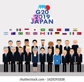 Osaka, Japan, June 28-29: Leaders of Group of Twenty 2019 stand flat style