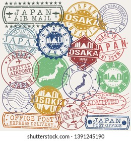 Osaka Japan Set of Stamps. Travel Stamp. Made In Product. Design Seals Old Style Insignia.