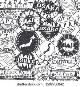 Osaka Japan Stamps. City Stamp Vector Art. Postal Passport Travel. Design Set Pattern.