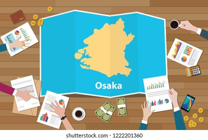 osaka kansai japan city region economy growth with team discuss on fold maps view from top vector illustration