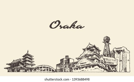 Osaka skyline, Japan, hand drawn vector illustration, sketch