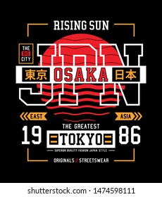 Osaka, Tokyo slogan for t shirt. Japan style typography graphics with inscription in Japanese with the translation: Tokyo, japan. Vector illustrations