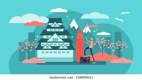 Osaka vector illustration. Designated Japan city tourism tradition symbols. Architecture culture collection with tourist. Urban and historic house with mountain in background. Temple, sakura landscape