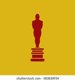 oscar academy award Icon in Flat Style Vector Illustration, first place prize, man of the year reward, best person, best person statue