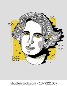 Oscar Wilde. Vector illustration hand drawn. Creative geometric portrait.