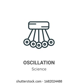 Oscillation outline vector icon. Thin line black oscillation icon, flat vector simple element illustration from editable science concept isolated stroke on white background