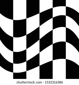 Oscillation, ripple, squeeze warp. Curve, camber element. Wavy, waving distortion on checkered, chequered, chess board pattern. Billowy, undulating deformation on squares, chess background