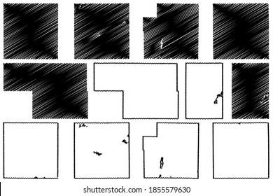 Oscoda, Osceola, Newaygo, Montcalm, Otsego and Ogemaw County, Michigan (U.S. county, United States of America, USA, U.S., US) map vector illustration, scribble sketch map