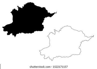 Osh Region (Kyrgyz Republic, Kirghizia, Regions of Kyrgyzstan) map vector illustration, scribble sketch Osh map
