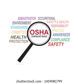 OSHA - Occupational Safety and Health Administration on magnifying glass. Vector illustration concept banner on white background.