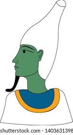 A Osiris, the god of the afterlife, the underworld, and rebirth in ancient Egyptian religion, turning to his left over a white background, vector, color drawing or illustration.