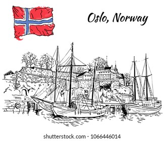 Oslo Akershus Fortress view with boats and yachts in the foreground. Hand drawn black and white line art style vector illustration. Postcard, coloring page, travel guide design. Norway, Scandinavia.