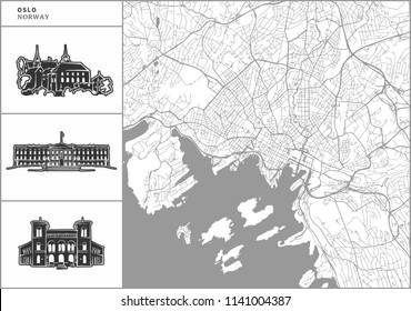 Oslo city map with hand-drawn architecture icons. All drawigns, map and background separated for easy color change. Easy repositioning in vector version.