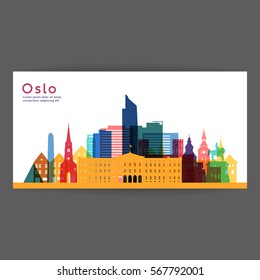 Oslo colorful architecture vector illustration, skyline city silhouette, skyscraper, flat design.