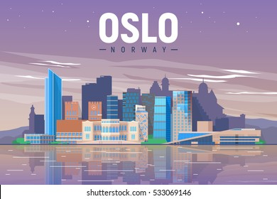 Oslo Norway skyline with panorama in evening sky background. Vector Illustration. Business travel and tourism concept with modern buildings. Image for presentation, banner, placard and web site.