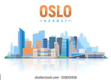 Oslo Norway skyline with panorama in white background. Vector Illustration. Business travel and tourism concept with modern buildings. Image for presentation, banner, placard and web site