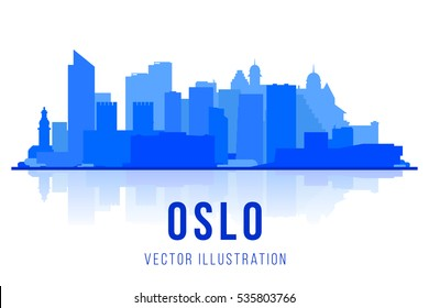 Oslo Norway skyline  silhouette background. Vector Illustration. Business travel and tourism concept with modern buildings. Image for presentation, banner, placard and web site.