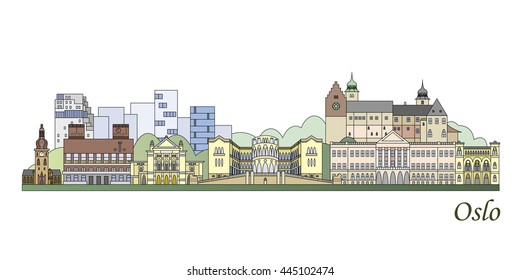 Oslo skyline colored in editable vector file
