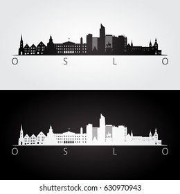 Oslo skyline and landmarks silhouette, black and white design, vector illustration.