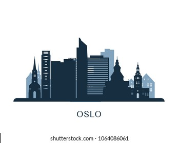 Oslo skyline, monochrome silhouette. Vector illustration.