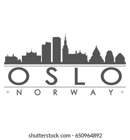 Oslo Skyline Silhouette Skyline Stamp Vector City Design