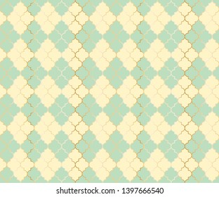 Osman Mosque Vector Seamless Pattern. Argyle rhombus muslim fabric background. Traditional ramadan pattern with gold grid. Trendy islamic argyle seamless design of lantern lattice shape tiles.