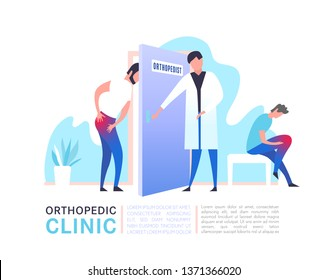 Osteoarthritis illustration in modern vanguard simplistic style. Hip and knee bones injury. Orthopedic clinic. Editable vector in bright violet, blue, pink colors. Medical, healthcare, science concept