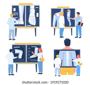Osteopath examining xray pictures of patient joints, spine bones, flat vector illustration. Shoulder, elbow, knee, foot arthritis, spinal disease. Osteoarthritis, osteoporosis, osteopathy chiropractic
