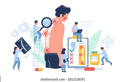 Osteopathy session and treatment. Man suffering from spine pain visiting osteopath, flat vector illustration. Tiny doctor characters examining patient vertebra. Osteopathic physician consultation.