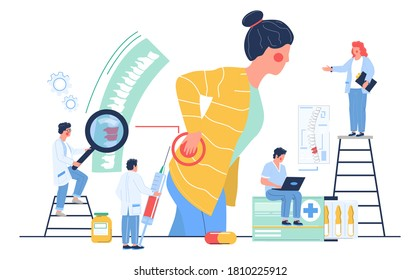 Osteopathy session and treatment. Woman suffering from back pain, visiting doctor osteopath, flat vector illustration. Tiny osteopathic doctor characters examining patient spine. Alternative medicine.