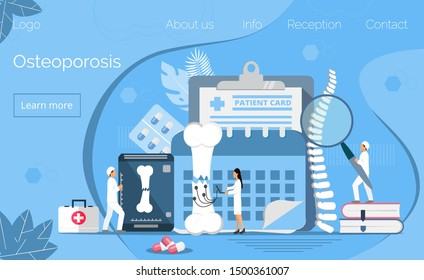 Osteoporosis concept, osteoarthritis anatomical vector. Tiny doctors research bones of human. Joint pain, fragility of lower leg are shown. It is for landing page, app, banner.