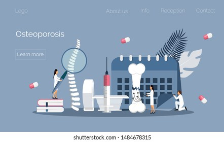 Osteoporosis world day concept, osteoarthritis anatomical vector. Tiny doctors research bones of human. Joint pain, fragility of lower leg are shown. It is for landing page, app, banner.