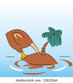 An ostrich head in the sand on a very small island (Vector)