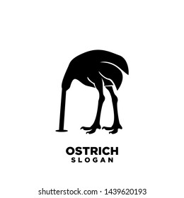 ostrich head in sand silhouettes logo icon designs vector. Vector illustration isolated on the white background