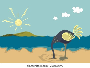 Ostrich with head in sand. Vector background.