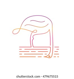 ostrich logo in simple line style vector