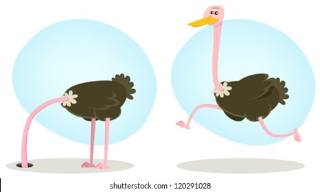 Ostrich Running And Hiding From World/ Illustration of a funny cartoon ostrich bird character from african savannah, burying head into the ground
