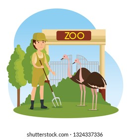 ostriches wild animal in the zoo with safari man
