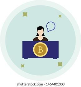 OTC Bitcoin Trading, Verified Money Exchange Centre Flat Icon. Isolated on White Background. Trendy Flat Style.