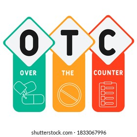 OTC - Over The Counter acronym, medical concept background. vector illustration concept with keywords and icons. lettering illustration with icons for web banner, flyer, landing page