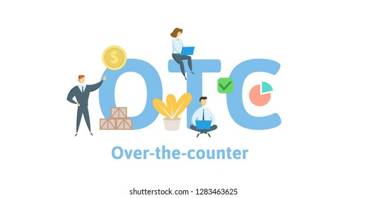 OTC, Over The Counter. Concept with keywords, letters and icons. Colored flat vector illustration. Isolated on white background.