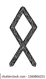 Othala Rune. Ancient Scandinavian runes. Runes senior futarka. Magic, ceremonies, religious symbols. Predictions and amulets. Ornament lightning. White background, black runes and white ornament