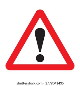 Other danger traffic sign. Illustration of red triangle warning road sign with exclamation mark inside. Caution icon vector design template isolated on white background. Attention. Danger zone.