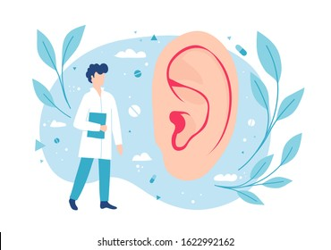 Otolaryngologist examines the ear. ENT consults. Hearing and deafness.