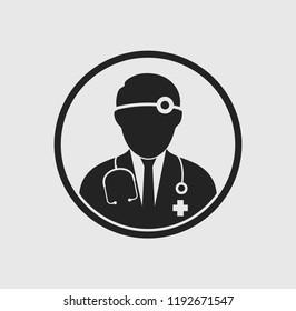 Otorhinolaryngologist medical icon with circle shape. Flat style illustration.