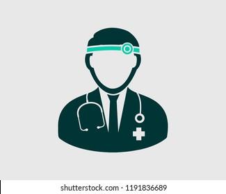 Otorhinolaryngologist medical icon. Flat style illustration.