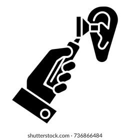otoscope ear - ent - otolaryngologist - doctor icon, vector illustration, black sign on isolated background