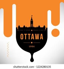 Ottawa Modern Web Banner Design with Vector Linear Skyline